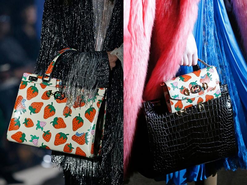 Họa tiết những quả dâu chín mọng trên nền trắng xuất hiện nhiều trong những thiết kế túi xách mùa mới của Gucci.