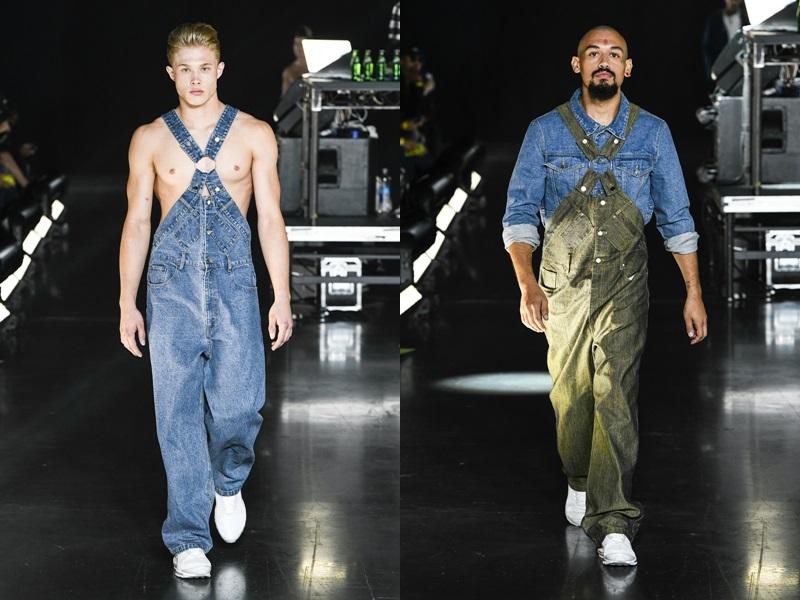 Chiếc quần yếm chất liệu denim với đường chéo lạ mắt ở giữa ngực với khoen kim loại rất có thể sẽ là mốt street style mới dành cho giới trẻ.