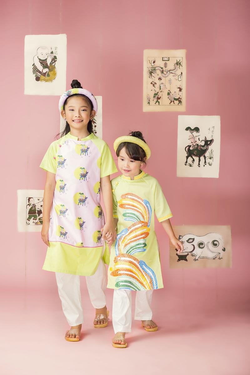 """BST """"Song Hồ"""" tái hiện những hình ảnh quen thuộc từ tranh Đông Hồ với cách pha màu hiện đại, tươi vui để mang đến một tinh thần hứng khởi trong mùa trung thu này."""