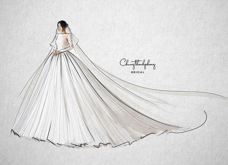 Bản phác thảo bộ váy sang trọng nhất của Nhã Phương mặc trong đám cưới tối nay.