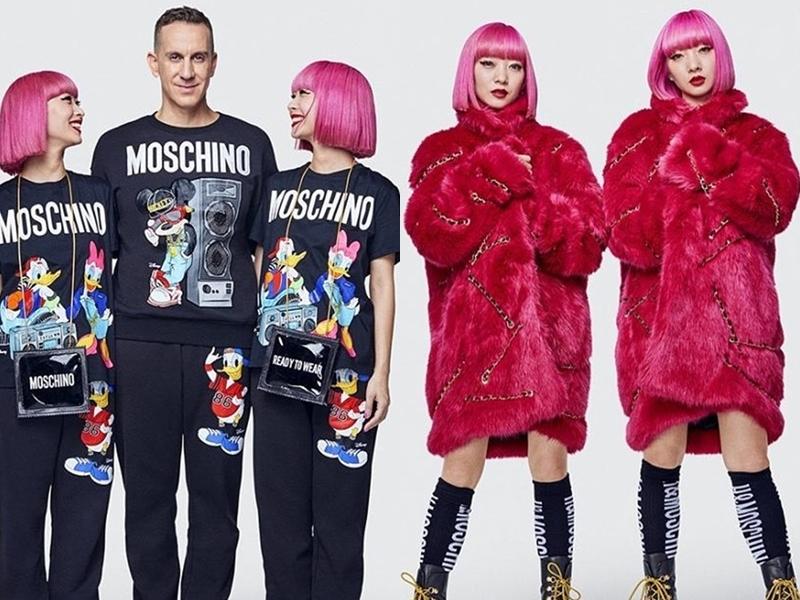 Hình ảnh của NTK Jeremy Scott diện các thiết kế trong BST Moschino [tv] H&M bên cạnh đôi chị em fashionista nổi tiếng là Ami và Aya Suzuki.