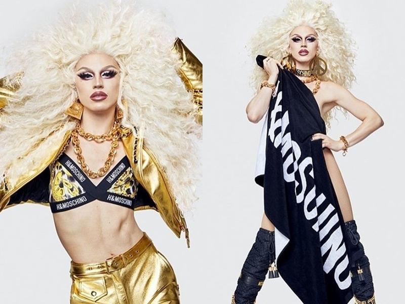 """Không chỉ xoay quanh những món đồ street style vốn là thế mạnh của H&M, Jeremy Scott mang đến các thiết kế vừa """"sang chảnh"""" vừa nổi loạn hơn khi có sự xuất hiện của mẫu áo khoác, quần tông vàng ánh kim chói lọi."""