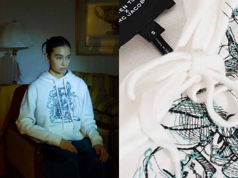 Ngoài túi xách, nét vẽ của Lauren còn xuất hiện trên những mẫu áo thun, hoodie,... bằng cách thêu thủ công.