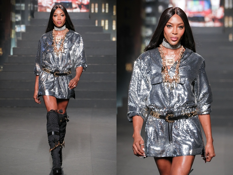 Ngoài ra còn có sự xuất hiện của siêu mẫu huyền thoại Naomi Campbell với những bước catwalk mạnh mẽ trong thiết kế màu bạc ánh kim có đường xẻ ngực sâu vô cùng táo bạo.