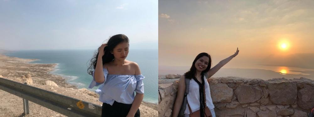 Hình ảnh Phương Đông (bên trái) và Tâm Anh (bên Phải) được chụp từ pháo đâi cổ Masada và biển chết