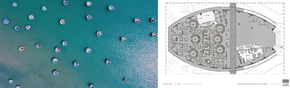 Thuyền thúng truyền thống (trái) và khu vực bàn tròn bên trong sảnh trước của khu nghỉ dưỡng Alma (phải)