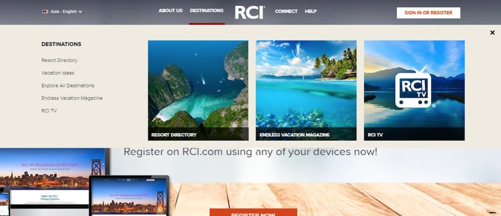 Trang web của RCI – Mạng lưới trao đổi kỳ nghỉ lớn nhất thế giới