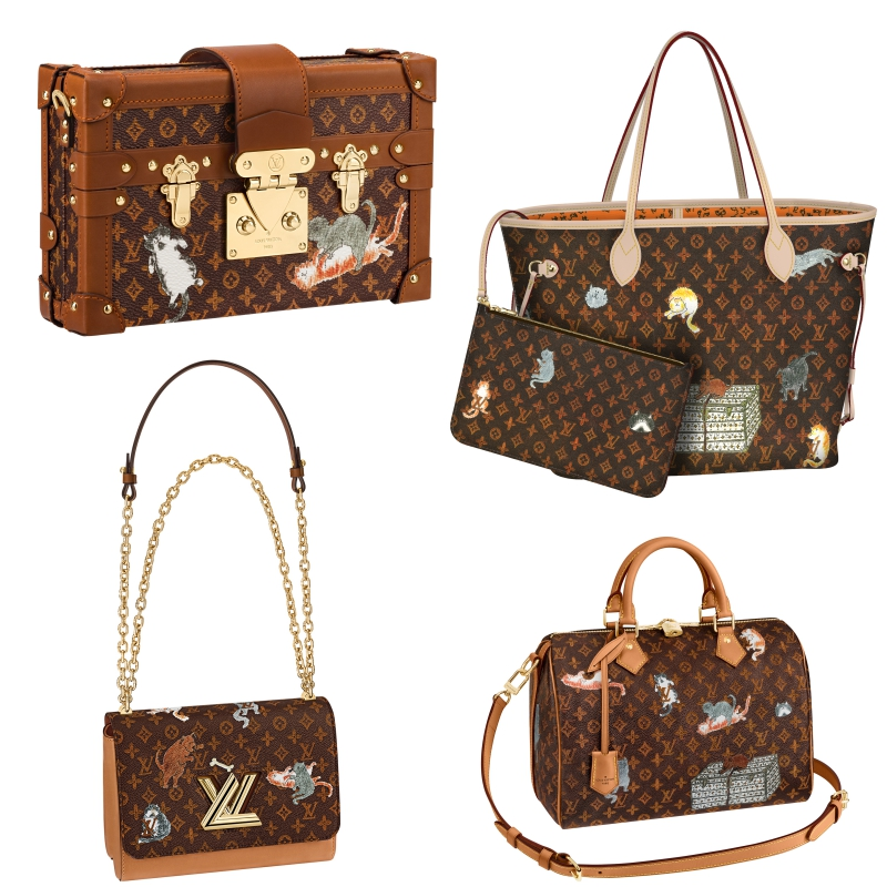 Những chiếc túi xách trứ danh của Louis Vuitton như Petite Malle, Neverfull, Twist và Speedy với họa tiết monogram trở nên trẻ trung và sinh động hơn bởi những hình vẽ của bà Grace Coddington.