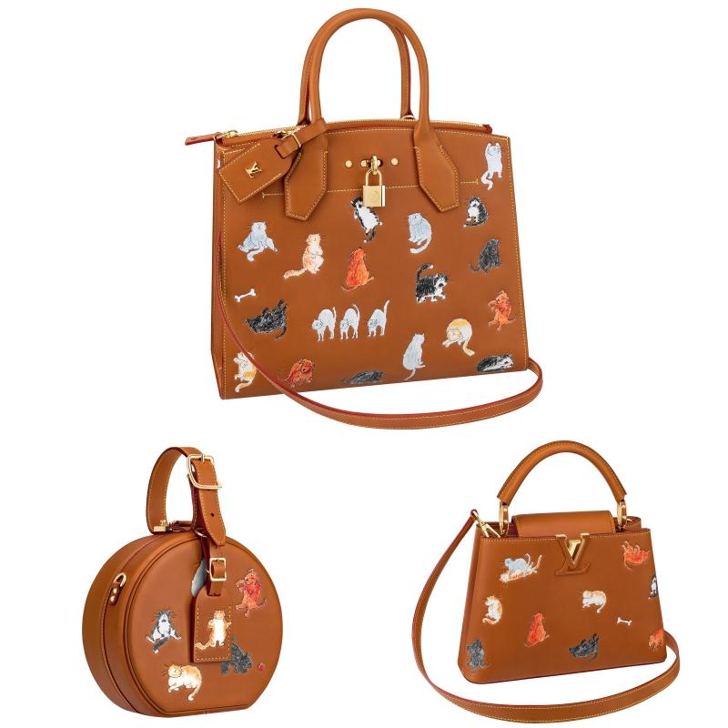 Những chiếc túi xách City Steamer, Petite Boite Chapeau và Cappucines trên chất liệu da màu camel cũng được tô điểm bởi những hình vẽ vui mắt từ bà Grace Coddington.