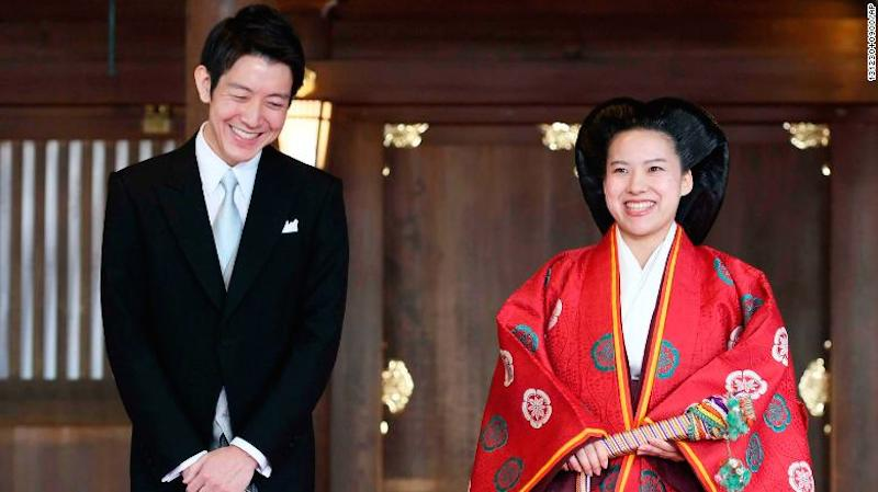 Công chúa Ayako và chồng, anh Moriya trong lễ cưới tại Đền Meiji.