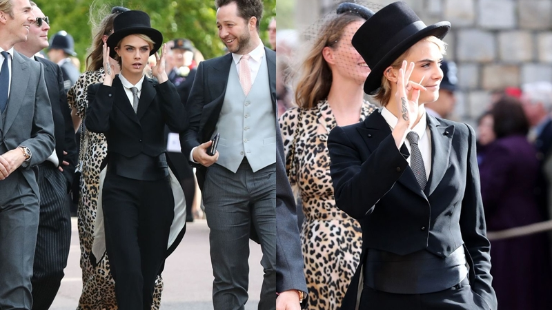 """Cara Delevingne """"lách luật"""" trang phục khách mời trong đám cưới hoàng gia Anh"""