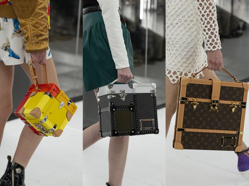 Những chiếc túi xách mang cảm hứng từ rương hành lý cổ điển của Louis Vuitton tạo điểm nhấn cho show diễn.