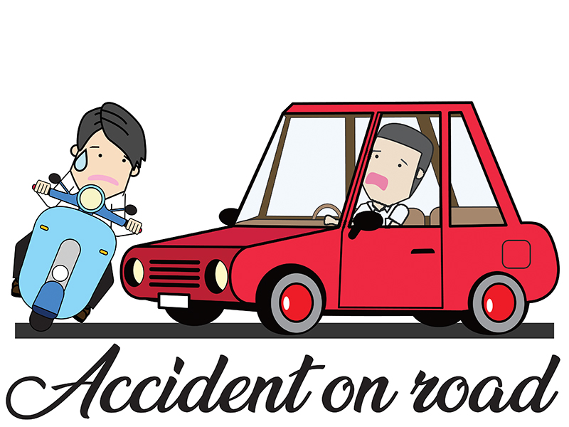 Car and scooter crash accident in cartoon mode. Flat vector illustration concept.