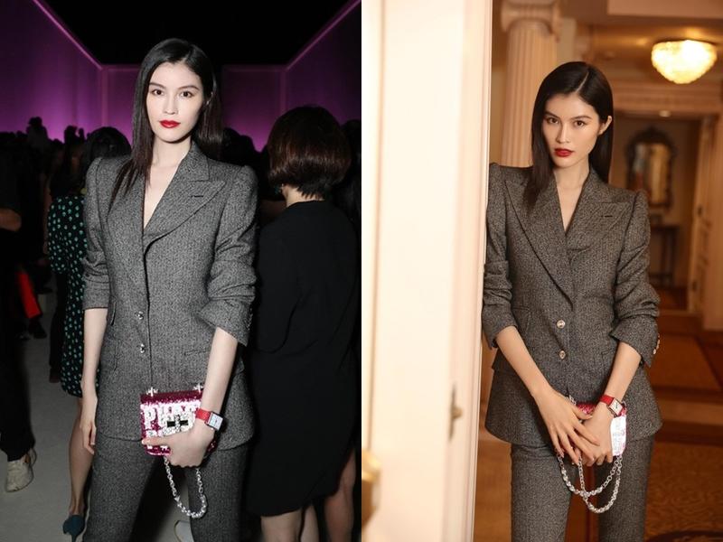 Thiên thần Sui He của Victoria's Secret tham dự show diễn của Tom Ford với phong cách đậm chất menswear cá tính, mạnh mẽ.