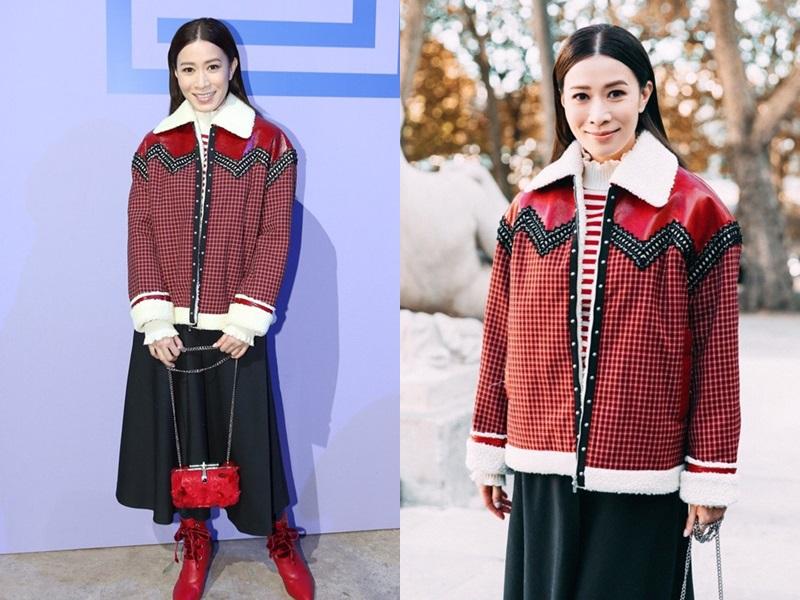 Cũng tại show diễn của Shiatzy Chen, Xa Thi Mạn chọn phối hợp 3 tông màu đặc trưng của Thu Đông là trắng - đen - đỏ.