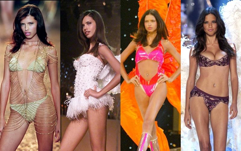"""Adriana Lima gần như là một biểu tượng của VS Show ngay từ những lần đầu xuất hiện trong show thời trang nội y hoành tráng này. Từ đôi mắt biết nói, sải bước đầy quyền lực đến những cú xoay hông và """"nụ cười thương hiệu"""" đã để lại nhiều dấu ấn sâu đậm trong lòng khán giả. (Từ trái qua: VS Show 2000 - 2001 - 2002 - 2003)"""