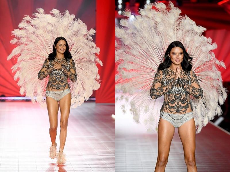 """Adriana Lima xúc động ngay từ những giây phút đầu tiên bước ra sàn diễn. Với bản lĩnh """"chị cả"""" trong dàn chân dài của VS Show nhưng cô vẫn không thể kìm nén được cảm xúc khi tận hưởng những giây phút cuối cùng được mang trên người đôi cánh thiên thần."""