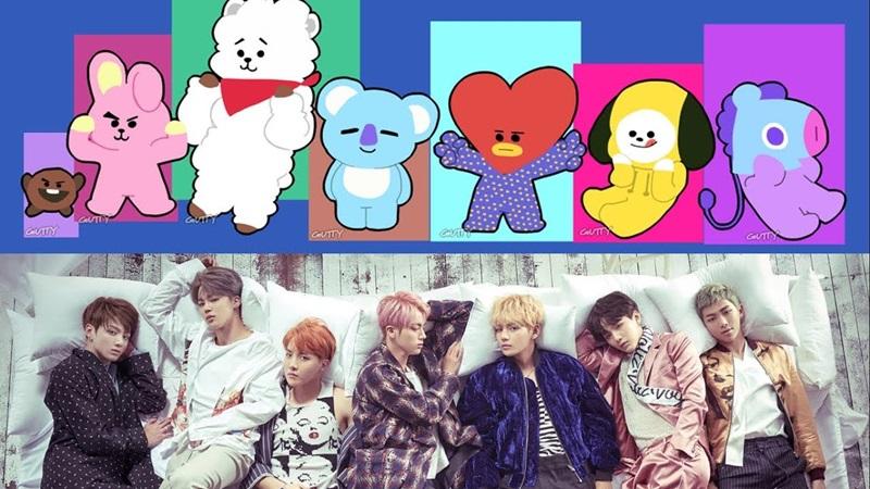 Các nhân vật trong bộ sticker được tạo ra có tên là Tata (V), RJ (Jin), Chimmy (Jimin), Cooky (JungKook), Shooky (Suga) , Koya (RM) , Mang (J-Hope) và Van.