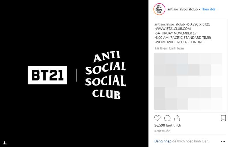 """Theo đó, Anti Social Social Club (ASSC) vừa bất ngờ tung ra thông báo sẽ đưa """"lên kệ"""" những thiết kế mới với hình ảnh đại diện là BT21 - gồm 8 nhân vật hoạt hình được BTS và Friends Creator sáng tạo ra cách đây không lâu."""