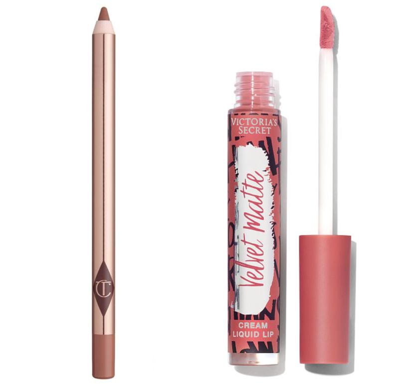 Combo Lip Cheat Liner màu Pillow Talk và Victoria's Secret Velvet Matte Lip Cream màu Showstopper làm nên đôi môi thiên thần.