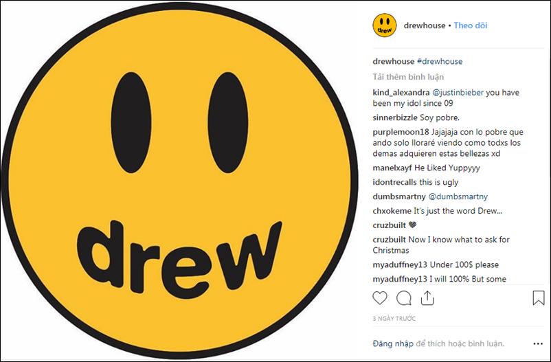 Tài khoản Instagram chính thức của Drew House với bài đăng đầu tiên là ảnh logo của thương hiệu.