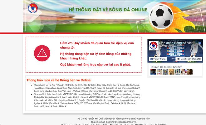 Trang đặt vé bóng đá trận Việt Nam vs Philippines tê liệt ngày mở bán