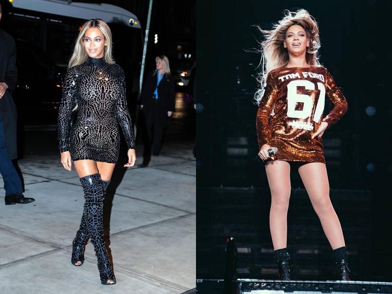 Các thiết kế của Tom Ford thường xuyên xuất hiện cùng Beyonce trên sân khấu và tại những sự kiện lớn.
