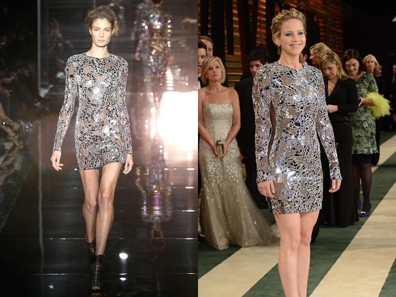 Một thiết kế tiêu biểu khác trong BST Xuân Hè 2014 mang đậm dấu ấn của Tom Ford đã giúp Jennifer Lawrence tỏa sáng theo đúng nghĩa đen lẫn nghĩa bóng tại Vanity Fair (Oscar after-party) 2014.