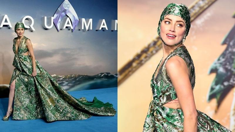 """Amber Heard đội mũ bơi couture trên thảm xanh ra mắt phim """"Aquaman"""" tại London"""
