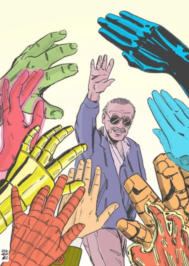 Những đôi bàn tay quyền năng của các siêu anh hùng chào tạm biệt đôi bàn tay vĩ đại đã xây dựng nên đế chế truyện tranh hùng mạnh.