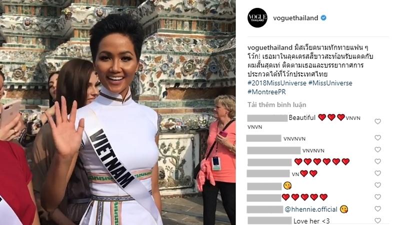 """Vừa tới Miss Universe, H'Hen Niê đã """"lên sóng"""" Vogue Thái Lan với chiếc áo dài đặc biệt"""