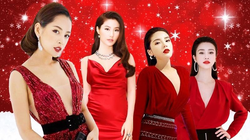 """Trước thềm Giáng sinh, mỹ nhân Việt """"nhuộm đỏ"""" mùa lễ hội với váy áo rực rỡ"""