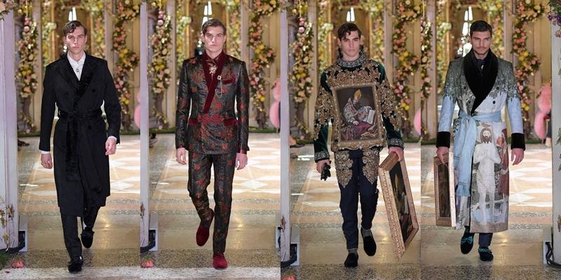 Trang phục dành cho cách quý ông của D&G cũng không kém phần lịch lãm, sang trọng cùng thiết kế áo choàng, veston, được đính hoa văn, thêu nổi và nghệ thuật chép tranh lên trang phục.