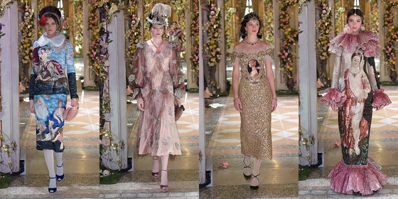 BST mang vẻ đẹp của nghệ thuật thời cổ đại đến cận đại, nhấn mạnh bằng những đường nét đặc trưng của văn hóa Phục Hưng. Các chi tiết như mũ lông vũ, chuỗi ngọc đeo trên đầu, hay những bộ váy cổ lông phong cách Parisian Chic,...