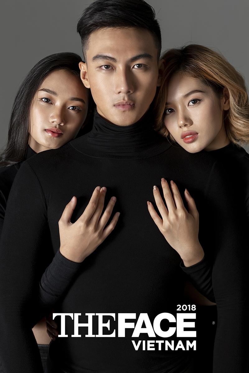Top 3 The Face (từ trái qua) Quỳnh Anh, Mạc Trung Kiên, Trâm Anh.