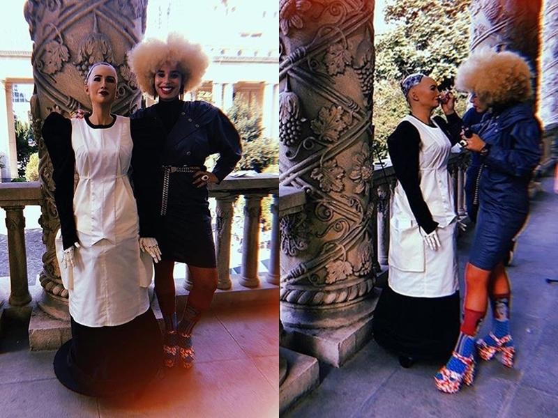 Sophia và NTK Sadie Clayton chuẩn bị trước màn trình diễn tại Tuần lễ Thời trang Thượng Hải diễn ra vào tháng 10 vừa qua.