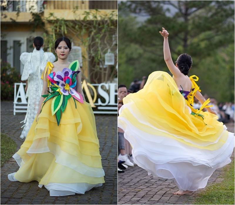 Không chỉ xuất hiện ở vai trò ca sĩ, cả Hà Thu và Nam Em cũng là người mẫu của chương trình. Khi xuất hiện trong bộ váy kết hoa ấn tượng của NTK Hằng Nguyễn, Nam Em đã ngẫu hứng bỏ giày, đi chân trần và nhảy múa theo nhạc khiến khán giả vô cùng thích thú.