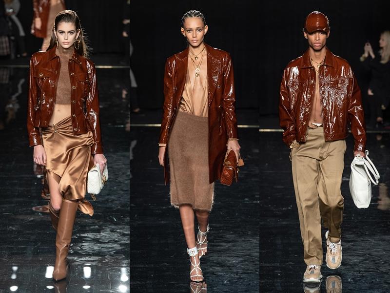 Ngay cả với những tông màu trầm, gắn liền với khung cảnh trời thu, NTK Donatella Versace vẫn luôn biết cách tạo sự trẻ trung và lôi cuốn qua những sáng tạo của mình.