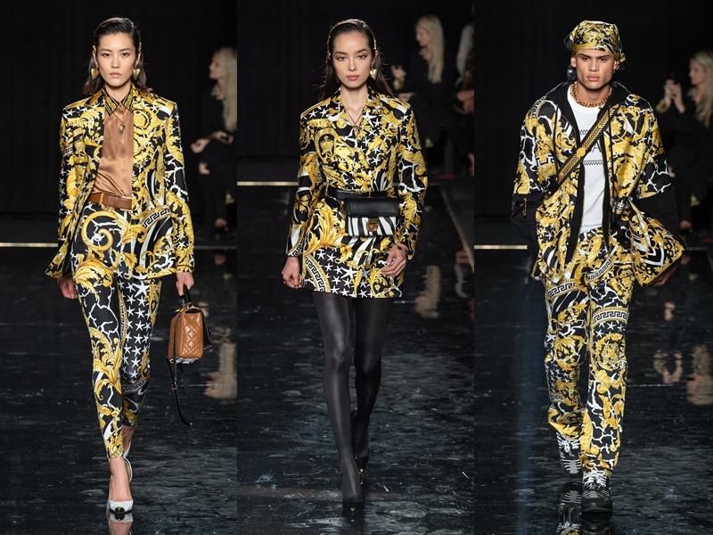 Những họa tiết mang cảm hứng baroque của Versace tiếp tục xuất hiện trong các thiết kế Chớm Thu 2019 của thương hiệu.
