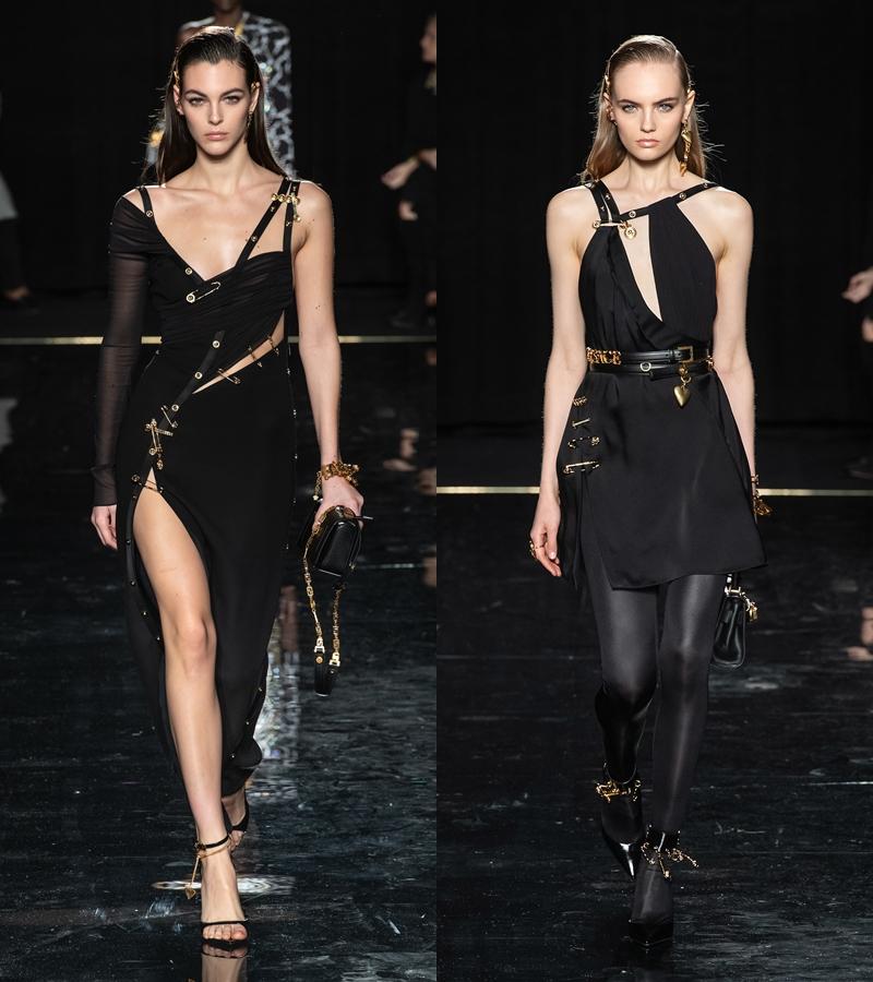 Thiết kế váy kim băng (pin dress) của NTK Gianni Versace được tái hiện trong BST Chớm Thu 2019 của Versace.