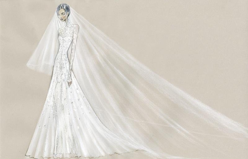 Bản vẽ tay của bộ váy cưới.