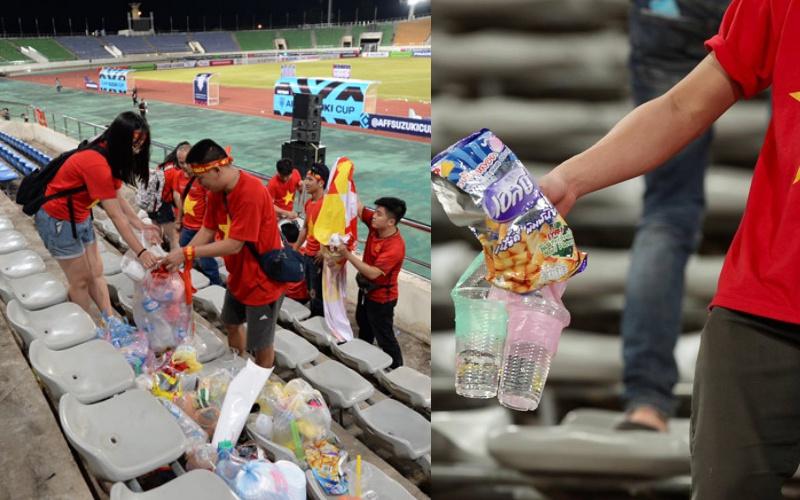 Người Lào thán phục hình ảnh đẹp về các cổ động viên Việt Nam. nhiều cổ động viên của đội bóng áo trắng đã nán lại khán đài sân vận động quốc gia Lào để dọn vệ sinh trước khi ra về.