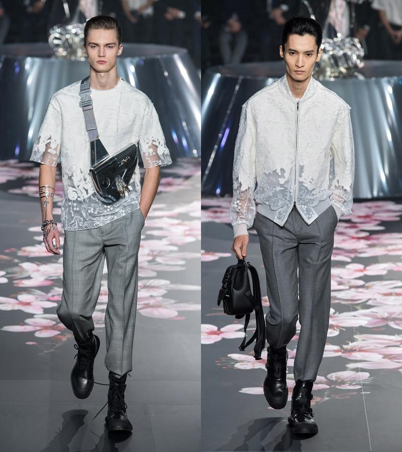 Vẻ nam tính mang sự trẻ trung tươi mới mà NTK Kim Jones mang đến cho Dior Homme vẫn tiếp tục được phát huy trong các thiết kế lần này.
