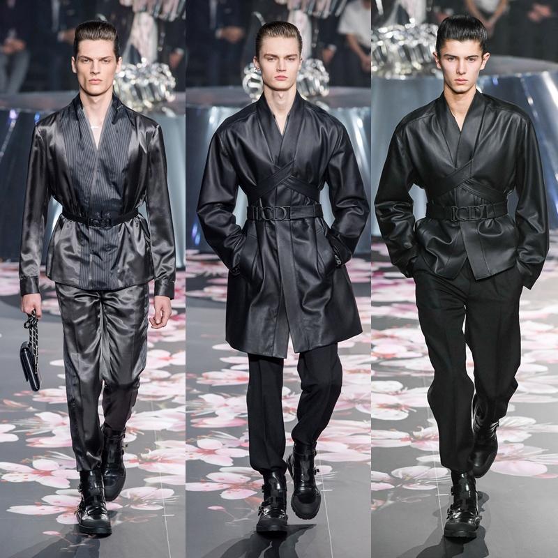Những thiết kế cuối show được lấy cảm hứng từ trang phục kimono của Nhật Bản, được thực hiện bởi những người thợ may bậc thầy tại Dior.