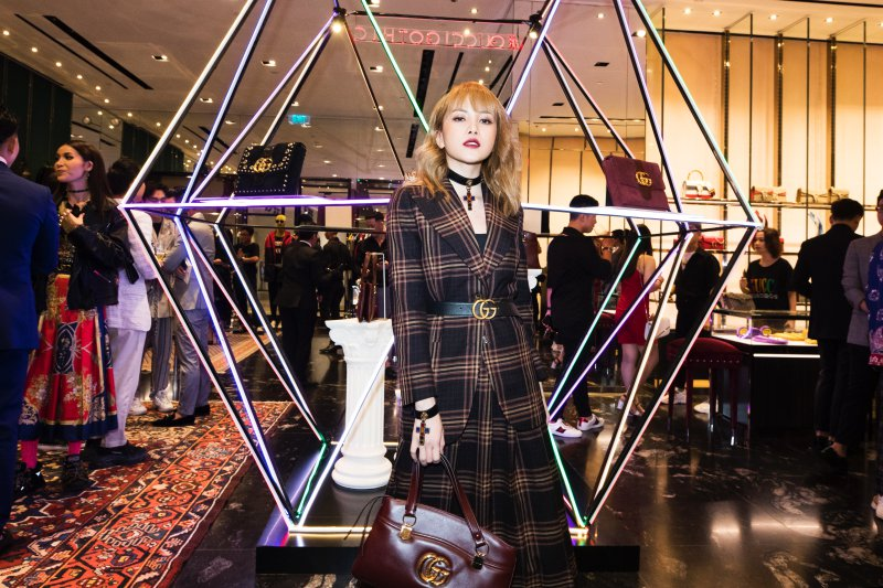 Thiều Bảo Trâm xách túi Arli - thiết kế túi xách tiêu biểu trong BST Cruise 2019 của Gucci.