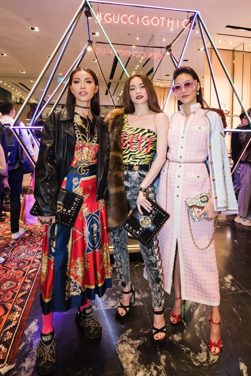 Cô hội ngộ cùng với Minh Tú và Lan Khuê tại sự kiện Gucci Gothic.