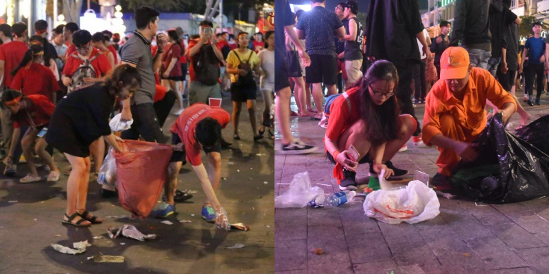 """Tại phố đi bộ Nguyễn Huệ số lượng rác thải được để lại sau khi người hâm mộ """"xuống đường ăn mưng"""" chiến thắng cũng nhiều vô kể. Tuy nhiên, các CĐV cũng góp phần chung tay dọn dẹp và thu gom số rác được để lại."""