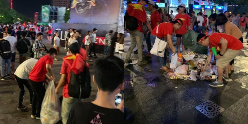 """Sau trận bán kết lượt về giữa đội tuyển Việt Nam và đội tuyển Philippines, dòng người đổ ra đường đi """"bão"""" để lại vô số rác trên phố đi bộ Nguyễn Huệ, nhiều người nán lại mỗi người một tay, một loáng sau lượng rác đã vơi đi ít nhiều."""