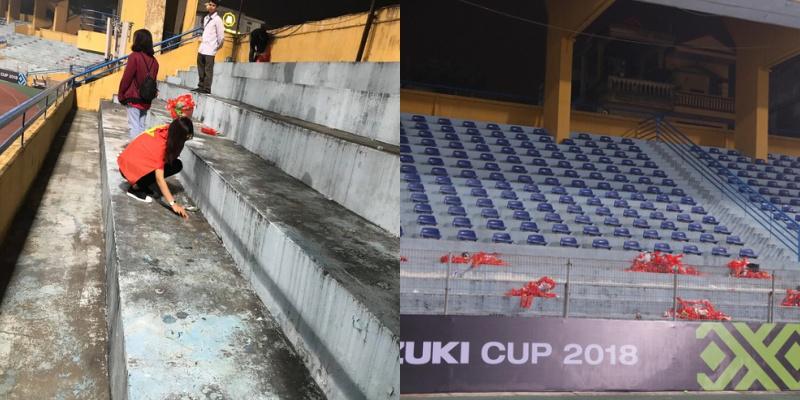 """Sau chiến thắng xuất sắc 3-0 trước Campuchia, nhiều CĐV Việt Nam tiếp tục để lại hình ảnh đẹp khi quyết định ở lại sân dọn sạch rác trên các khán đài thay vì lập tức đổ ra đường """"đi bão""""."""