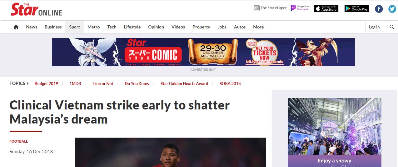 Báo Malaysia thừa nhận Việt Nam đã đập tan giấc mơ vô địch của đội tuyển nước này.